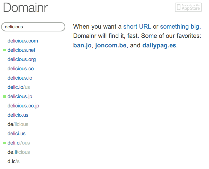 Domainr search of delicious